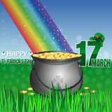 Green pot and leprechaun hat. Happy St. Patricks Day. Magic leprechaun pot of gold at the base of the rainbow. Cauldron full of gold coins on the lawn in the Stock Images