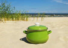 Green pot on a sand. Royalty Free Stock Photography