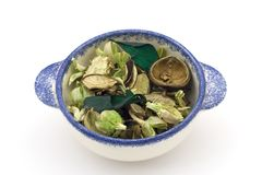 Green Potpourri. A bowl of green potpourri on a white background Royalty Free Stock Photography