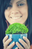 Green potted. Close up of a beautiful woman holding a green potted plant held in a pair of protective hands Stock Photography