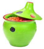 Green pottery with lentil Royalty Free Stock Photography
