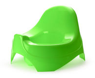 Green potty. Toilet training chamber pot for small children royalty free stock photo