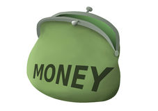 Green Pouch Attraction Money Easily-Safe Reliably Royalty Free Stock Photography