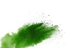Green powder explosion isolated on white background royalty free stock photography