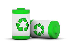 Green Power. Two batteries with recycle logo Stock Photos