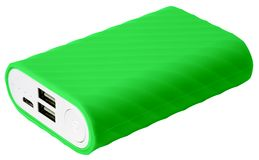Green power bank for tablet isolated on white background. Green power bank for tablet with two usb isolated on white background stock image