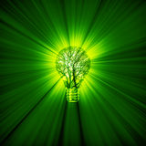 Green power bulb. 3D illustration of green energy concept with tree light bulb emitting rays of light Stock Image