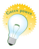 Green power circle label with bulb Royalty Free Stock Photography