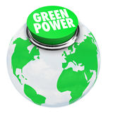 Green Power - Earth Button Stock Photos