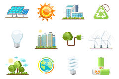 Green power icons. Eco clean energy set Stock Photo
