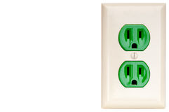 A green power outlet receptacle Royalty Free Stock Photo