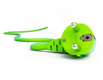 Green power plug. On a white background Stock Photography