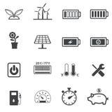 Green power and Power saving icons set, Stock Photos