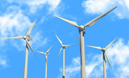 Green power source (wind turbines) Royalty Free Stock Photography