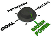 Green power. Switch to green power away from polluting non renewable energy sources like coal petrol and nuclear Stock Image