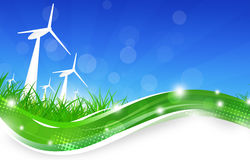 Green Power Wind Turbines Illustration Royalty Free Stock Image