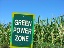 Green power zone sign with cornfield Stock Photography