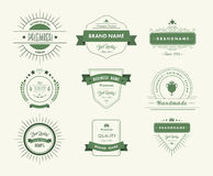 Green premium quality advertisement badges Royalty Free Stock Images