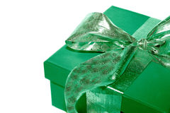 Green Present. Isolated on white Royalty Free Stock Photography