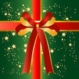 Green present background with red ribbon Royalty Free Stock Photos