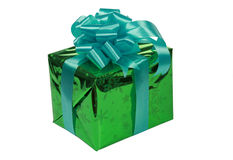 Green present with blue ribbons Stock Photo
