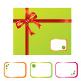 Green present box. Gift box and designation cards with shamrocks - vector illustration stock illustration