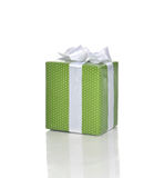 Green Present Gift box with white ribbon for birthday party Royalty Free Stock Photography