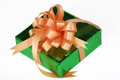 Green present with orange bow Stock Image