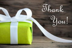 Green Present with Thank You Text Stock Photography
