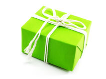 Green present on white background with white rope Royalty Free Stock Images