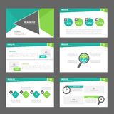 Green presentation template annual report brochure flyer  elements icon flat design set for advertising marketing leaflet Royalty Free Stock Photo