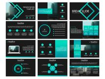 Green Presentation templates elements on a black background. Vector infographics. Use in Presentation, flyer and leaflet,. Corporate report, marketing Stock Photos