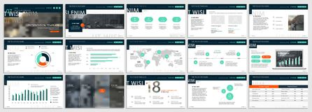 Green presentation templates elements on a white background.Vector infographics.