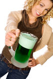 Green: Pretty Woman With Green Beer For St. Patrick`s Day Royalty Free Stock Photography