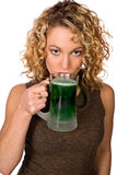 Green: Pretty Woman With Green Beer For St. Patrick`s Day Stock Photo