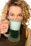 Green: Pretty Woman With Green Beer For St. Patrick`s Day Royalty Free Stock Image