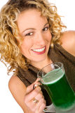 Green: Pretty Woman With Green Beer For St. Patrick`s Day Royalty Free Stock Photo
