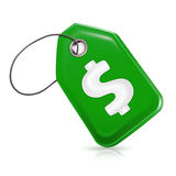 Green price tag. With a dollar sign Stock Images