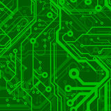 Green Printed Circuit Board. Green Seamless Printed Circuit Board Pattern Stock Photo