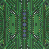 Green Printed Circuit Board with detailed network Texture 3D Ill Stock Images