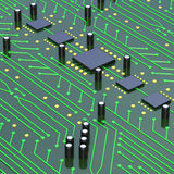 Green Printed Circuit Board with detailed network Texture 3D Ill Royalty Free Stock Photo