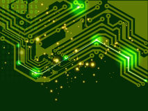 Green printed circuit board (PCB). Abstract digital sign of electronic printed circuit board (PCB) in green Royalty Free Stock Photography