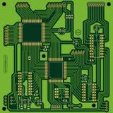 Green printed circuit board (PCB). Green colored square printed circuit board without components