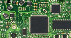 Green printed circuit board - PCB royalty free stock photo