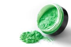 Green professional powder eye-shadows on white background Royalty Free Stock Photo