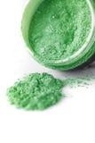 Green professional powder eye-shadows on white background Royalty Free Stock Image