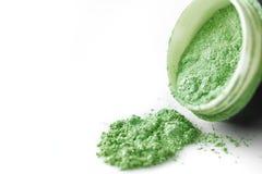 Green professional powder eye-shadows on white background Stock Photography