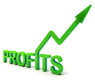 Green Profit Word Shows Income Earned Royalty Free Stock Photos
