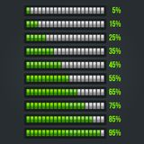 Green Progress Bar Set. 5-95% Stock Photography