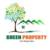 Green Property Logo Design For Business Real Estate. Green property logo design template for real estate logo, developer property etc. Good color, green, orange royalty free illustration